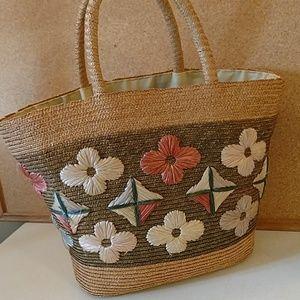 Vintage straw purse handbag tote flower design